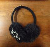 欧美外贸出口假毛人造毛皮爱心提花针织保暖耳罩