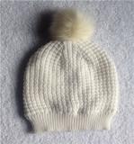 女式针织比尼帽带假毛球内里摇粒绒