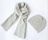 欧美流行花式针法帽子围巾两件套