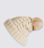 女式反针翻边带假毛球针织帽
